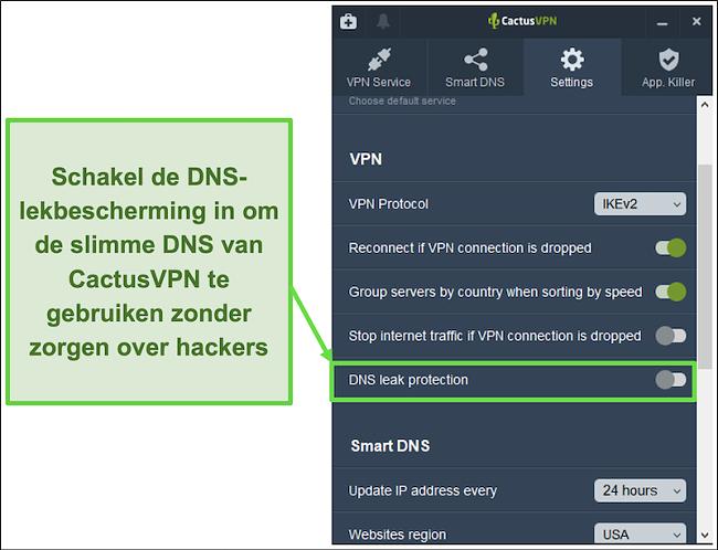Schermafbeelding die laat zien hoe u DNS-lekbescherming inschakelt