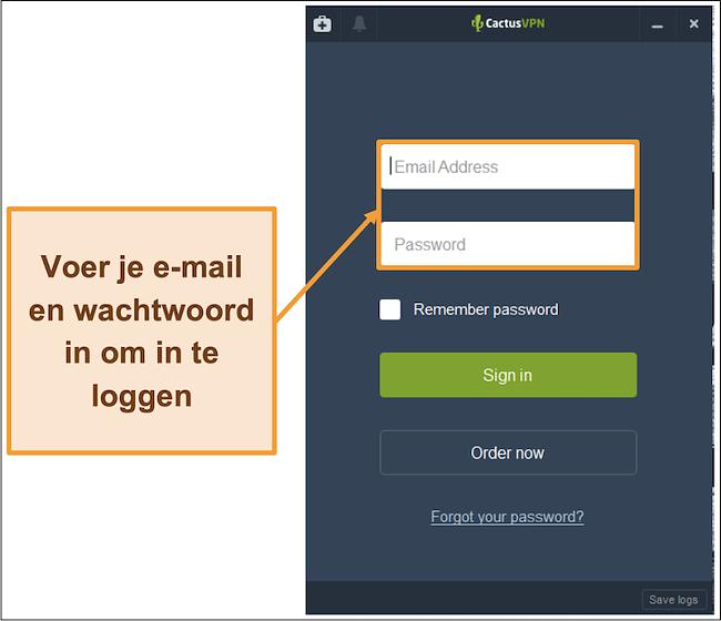 Screenshot met het inlogscherm op de CactusVPN-client