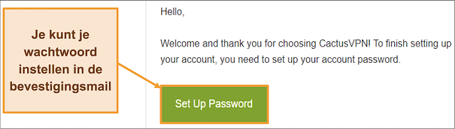 Schermafbeelding met bevestigingsmail van CactusVPN om een wachtwoord voor uw account aan te maken