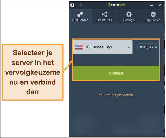 Screenshot van CactusVPN-interface met een vervolgkeuzemenu voor serverselectie