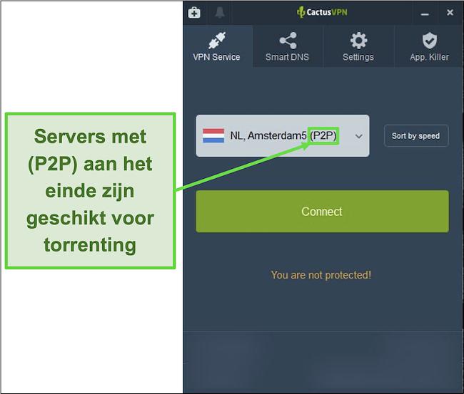 Screenshot die laat zien welke servers in staat zijn om te torrenten