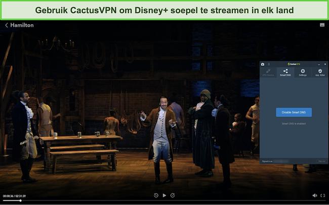 Screenshot van Hamilton die succesvol streamt op Disney + met CactusVPN verbonden