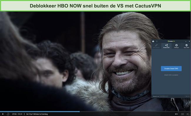 Screenshot van Game of Thrones die succesvol streamt op HBO NOW met CactusVPN verbonden