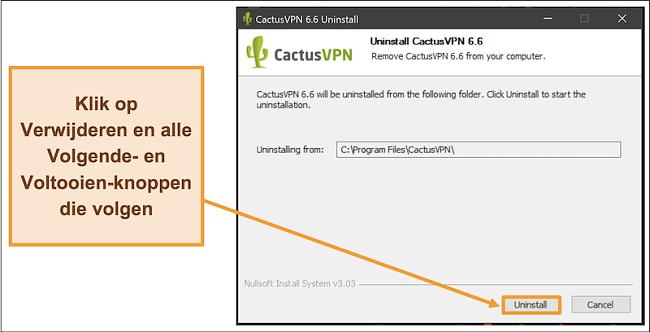 Schermafbeelding die laat zien hoe u het verwijderen van CactusVPN uit de verwijderingswizard kunt voltooien