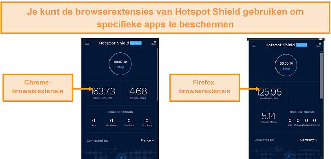 Screenshot van de browserextensies van Hotspot Shield voor Chrome en Firefox.