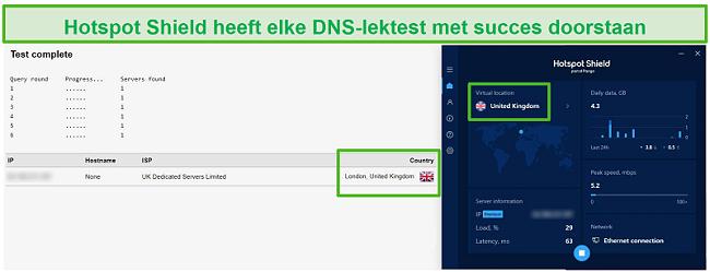 Screenshot van Hotspot Shield die een DNS-test doorstaat terwijl het verbonden was met een Britse server.