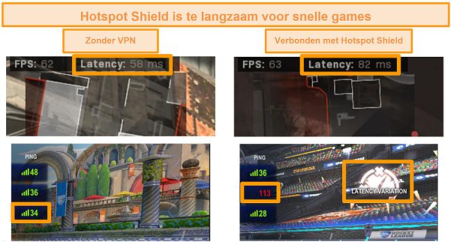 Screenshot van Call of Duty: Modern Warfare en Rocket League getest op latentietoename bij verbinding met Hotspot Shield VPN op pc.