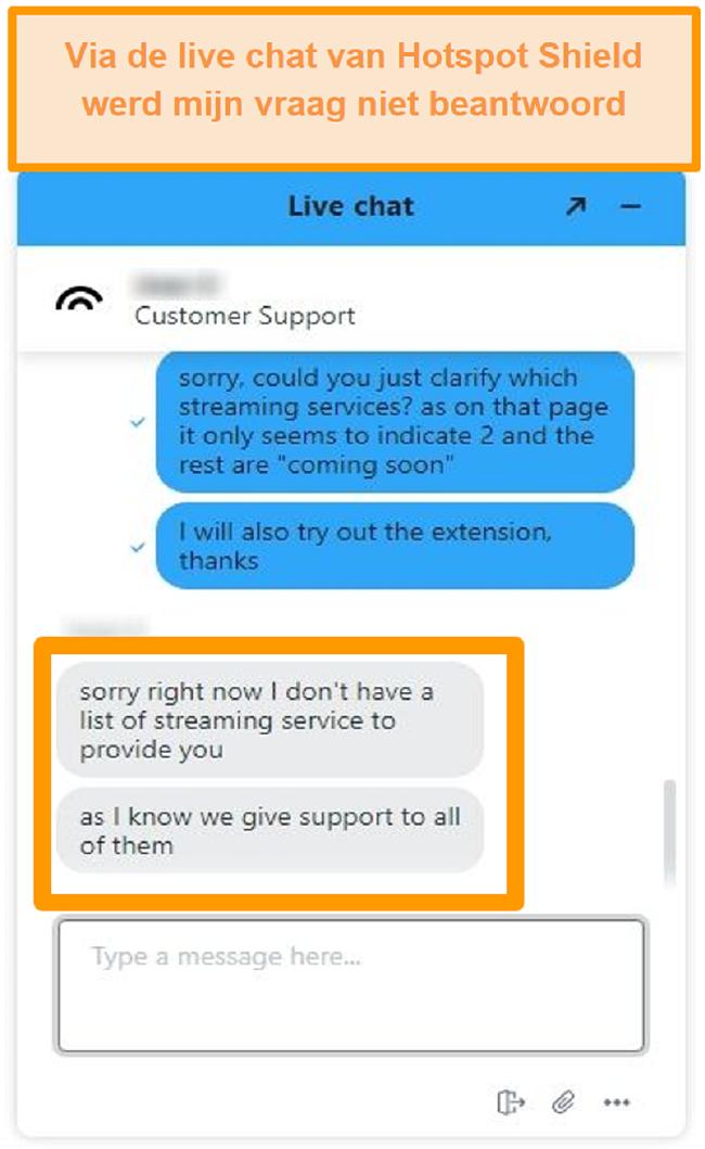 Screenshot van een Hotspot Shield live chat-agent die mijn vraag niet kan beantwoorden