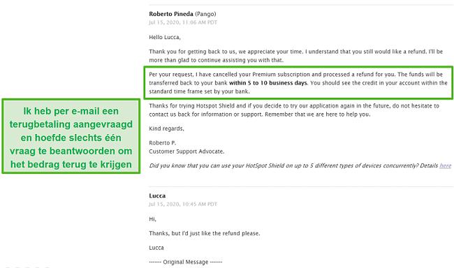 Screenshot van een e-mailgesprek met Hotspot Shield-ondersteuning, waardoor een terugbetaling wordt goedgekeurd.