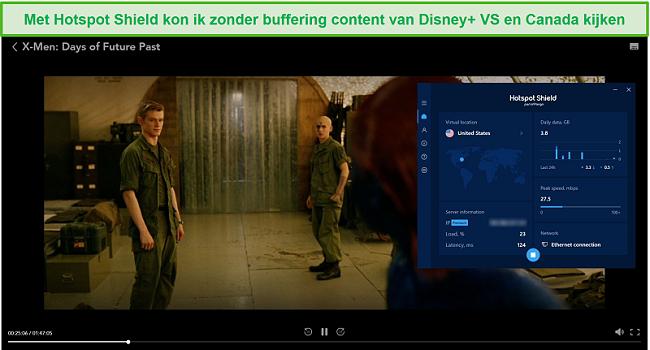 Screenshot van Hotspot Shield dat Disney + deblokkeert en X-Men: Days of Future Past streamt.