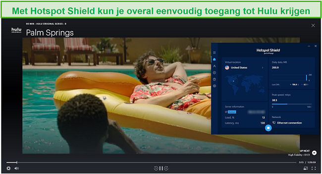 Screenshot van Hotspot Shield dat Hulu deblokkeert en Palm Springs streamt.