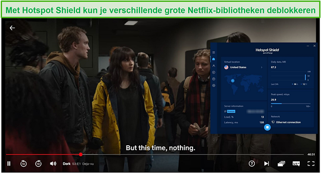 Screenshot van Hotspot Shield waarmee Netflix wordt gedeblokkeerd en Dark wordt gestreamd.