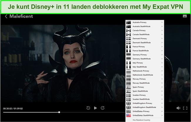 Screenshot van My Expat Network waarmee Disney + US wordt gedeblokkeerd