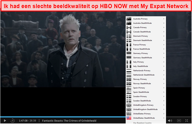 Screenshot van My Expat Network waarmee HBO NOW wordt gedeblokkeerd