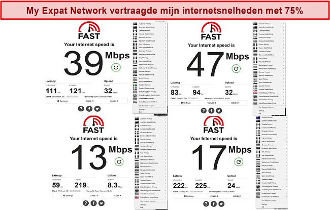 Screenshot van My Expat Network-snelheidstests op verschillende servers