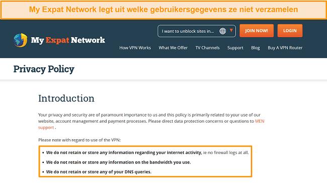 Screenshot van het privacybeleid van My Expat Network