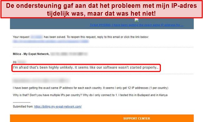 Screenshot van het e-mailantwoord van My Expat Network met een verklaring voor een IP-adresprobleem