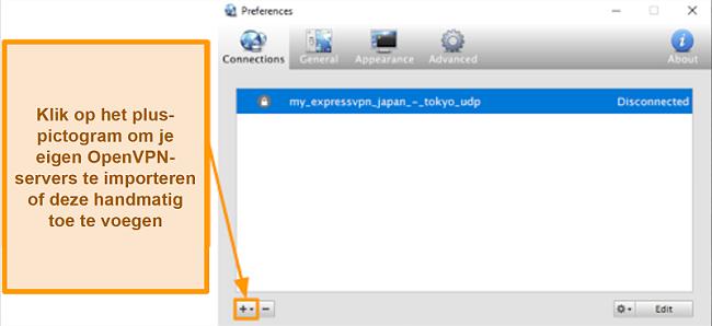 Screenshot van de Viscosity-app die laat zien hoe OpenVPN-servers toegevoegd kunnen worden