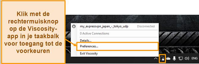 Schermafbeelding die laat zien hoe u het voorkeurenmenu in Viscositeit opent via het werkbalkpictogram