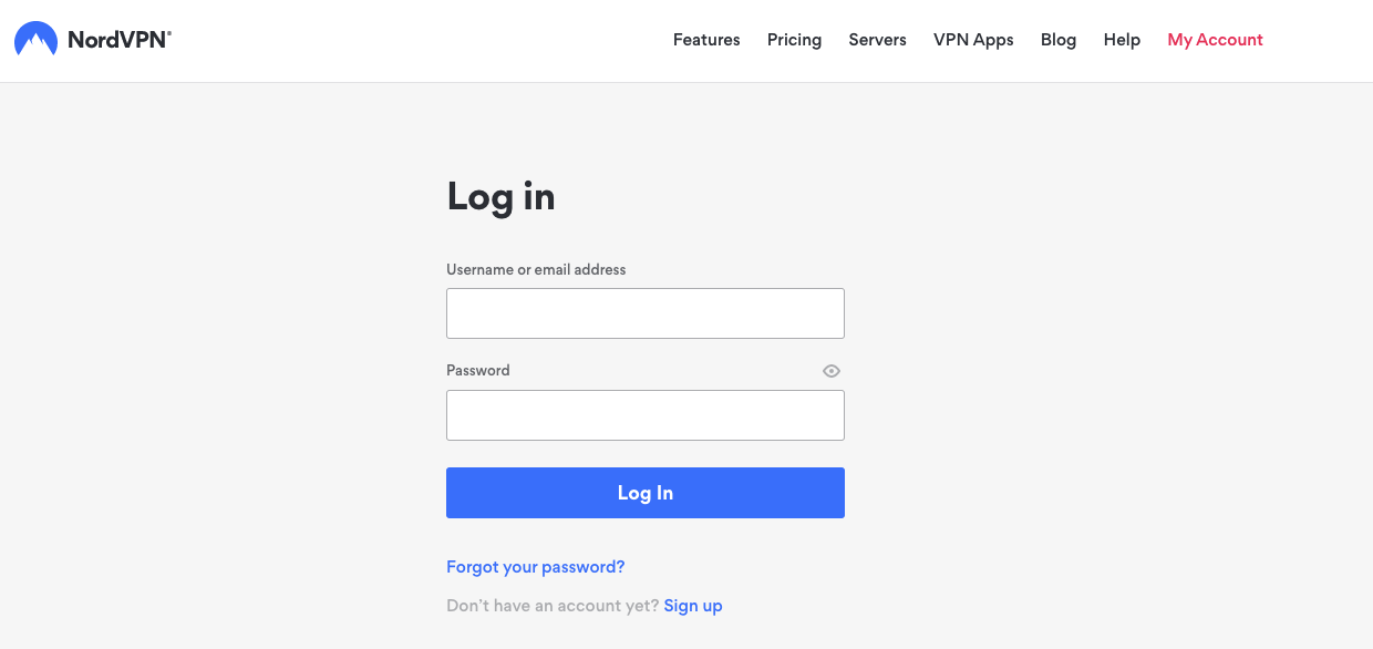 Graphic of NordVPN's login
