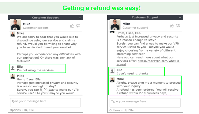 Screenshots of a refund request through live chat with a NordVPN customer support agent.