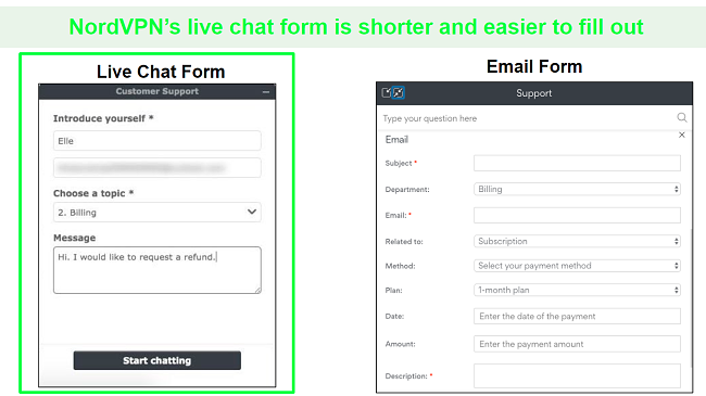 Screenshots of a NordVPN refund request through live chat compared to email