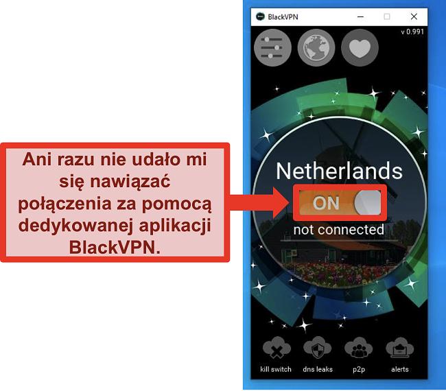 Zrzut ekranu przedstawiający klienta Windows BlackVPN, który nie łączy się, mimo że jest włączony