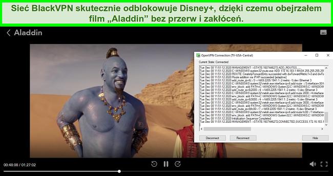 Zrzut ekranu przedstawiający Aladdin na Disney +, gdy BlackVPN jest połączony z serwerem przesyłania strumieniowego w USA Central za pośrednictwem klienta OpenVPN