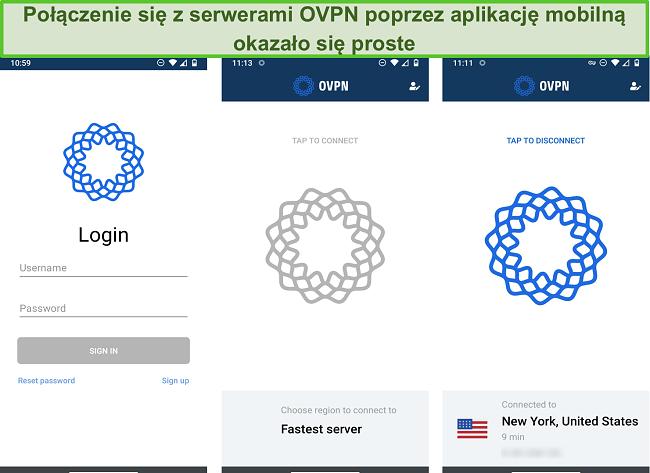 Zrzut ekranu przedstawiający proces logowania OVPN na urządzeniu mobilnym