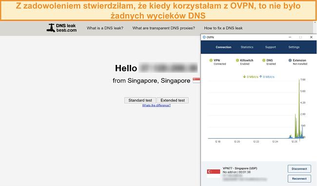 Zrzut ekranu przedstawiający OVPN przechodzący test szczelności DNS
