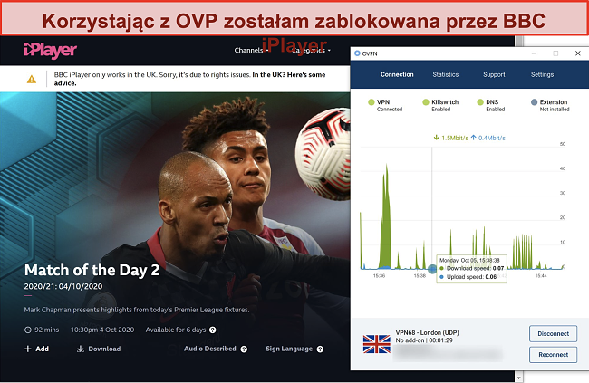 Zrzut ekranu przedstawiający blokowanie OVPN przez BBC iPlayer