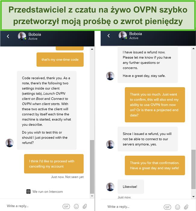 Zrzut ekranu z pomyślnym żądaniem zwrotu pieniędzy za pośrednictwem czatu na żywo OVPN
