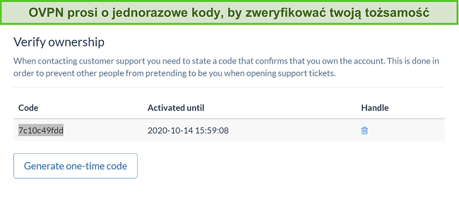 Zrzut ekranu z jednorazowym kodem OVPN do weryfikacji tożsamości podczas procesu anulowania subskrypcji