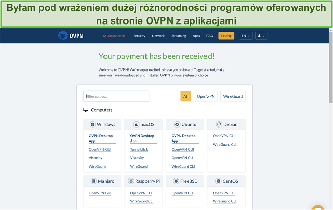 Zrzut ekranu z opcjami aplikacji OVPN