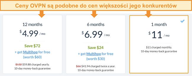 Zrzut ekranu z opcjami cenowymi OVPN