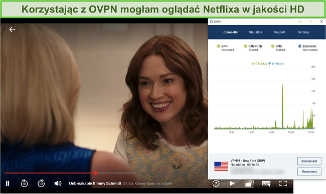 Zrzut ekranu przedstawiający OVPN odblokowujący Netflix