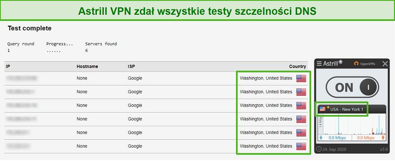 Screenshot von Astrill VPN, das DNS-Lecktests erfolgreich bestanden hat.