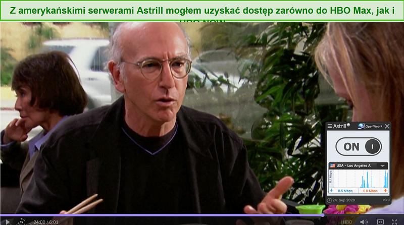 Screenshot von Astrill VPN entsperren Curb Your Enthusiasm auf HBO Max.
