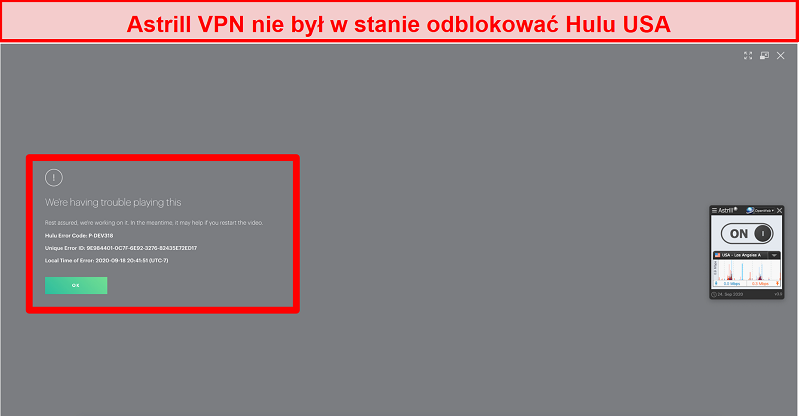 Screenshot von Astrill VPN, das mit einem US-Server verbunden ist und von Hulu US einen Fehlercode angezeigt bekommt.