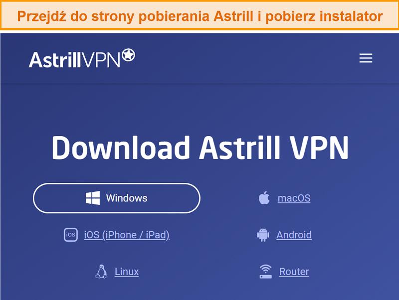 Screenshot der Download-Seite von Astrill VPN.