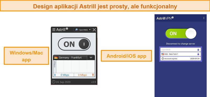 Screenshot der Apps von Astrill VPN auf Desktop und Mobile.