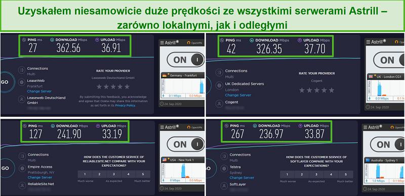 Screenshot von 4 Geschwindigkeitstests mit Astrills Servern in Frankfurt, London, New York und Sydney.