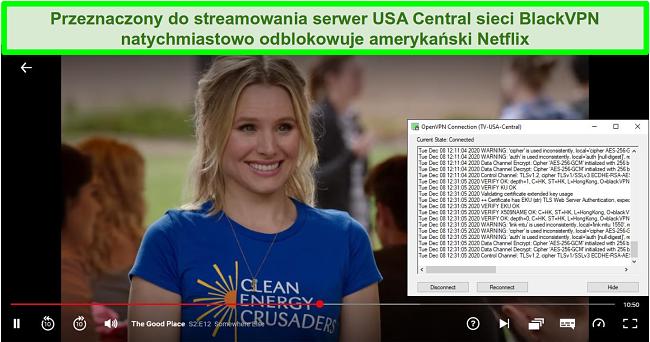 Zrzut ekranu przedstawiający The Good Place w serwisie Netflix, gdy BlackVPN jest połączony z amerykańskim serwerem strumieniowym Central za pośrednictwem klienta OpenVPN