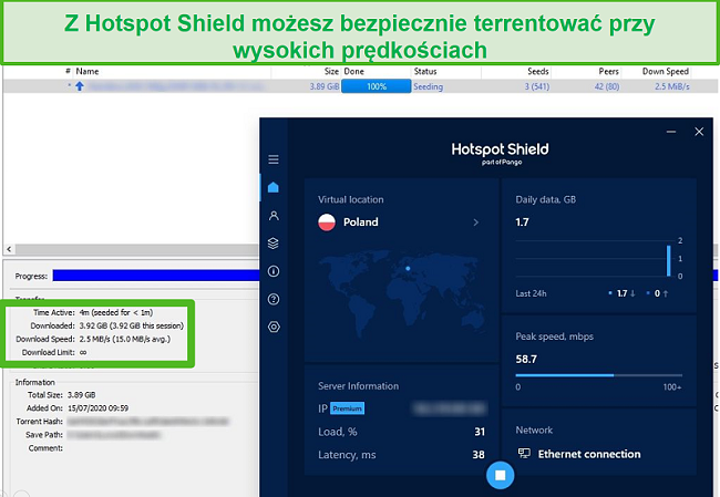 Zrzut ekranu przedstawiający połączenie z Hotspot Shield podczas torrentowania pliku 4 GB w mniej niż 4 minuty.