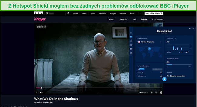 Zrzut ekranu przedstawiający Hotspot Shield odblokowujący to, co robimy w cieniu na BBC iPlayer.