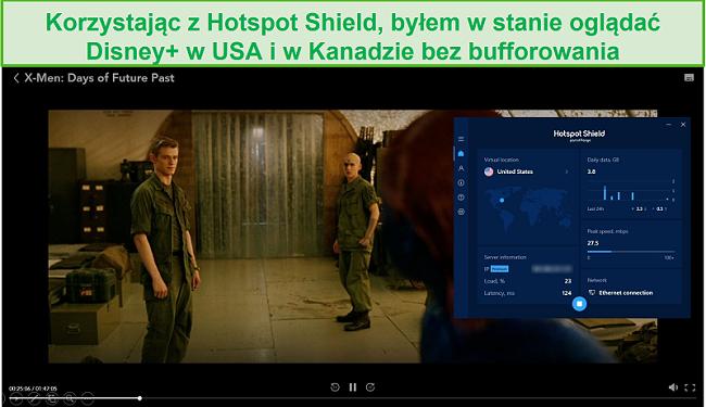 Zrzut ekranu przedstawiający Hotspot Shield odblokowujący Disney + i przesyłający strumieniowo X-Men: Days of Future Past.