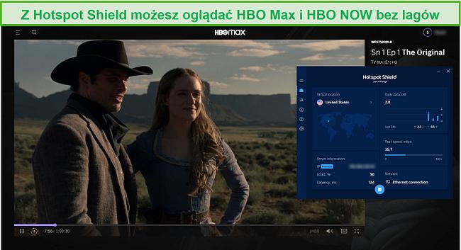 Zrzut ekranu przedstawiający Hotspot Shield odblokowujący Westworld na HBO Max.