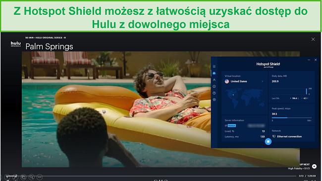 Zrzut ekranu przedstawiający Hotspot Shield odblokowujący Hulu i przesyłający strumieniowo Palm Springs.