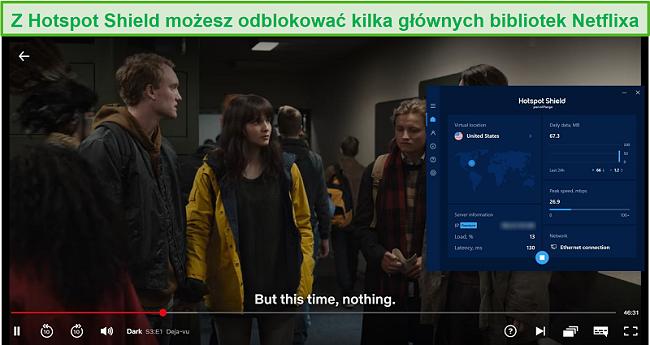 Zrzut ekranu przedstawiający Hotspot Shield odblokowujący Netflix i przesyłający strumieniowo Dark.