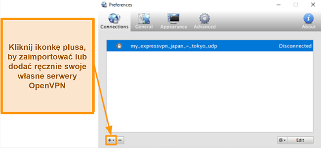 Zrzut ekranu aplikacji Viscosity, pokazujący, jak dodawać serwery OpenVPN